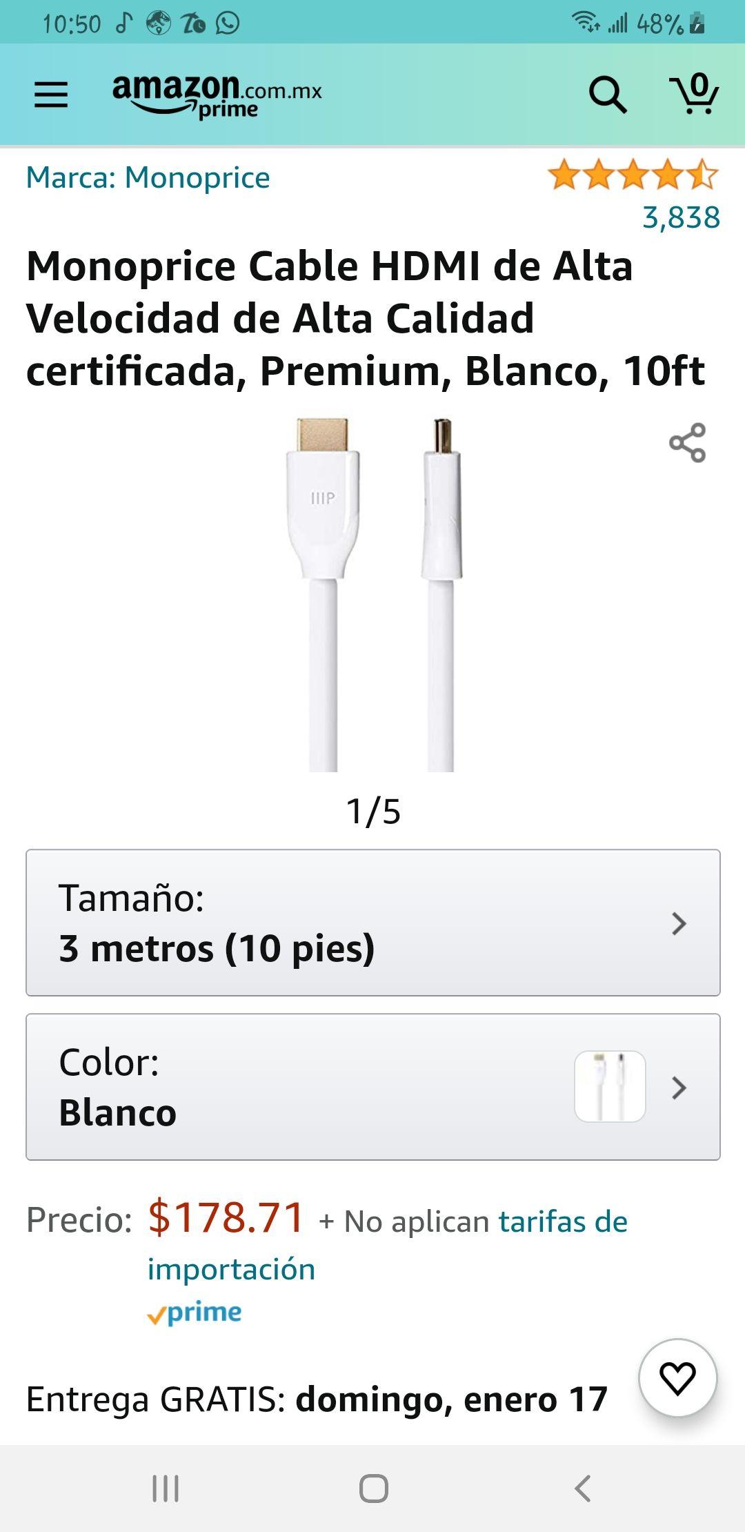 Amazon Cable Hdmi 2.0 certificado