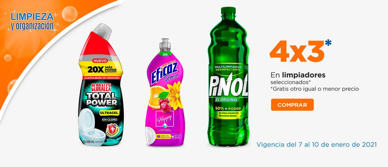 Chedraui: 4 x 3 en limpiadores de piso, Pinol, Flash, Eficaz, pastillas Flash, limpiadores de baño Cloralex, vidrios Pinol
