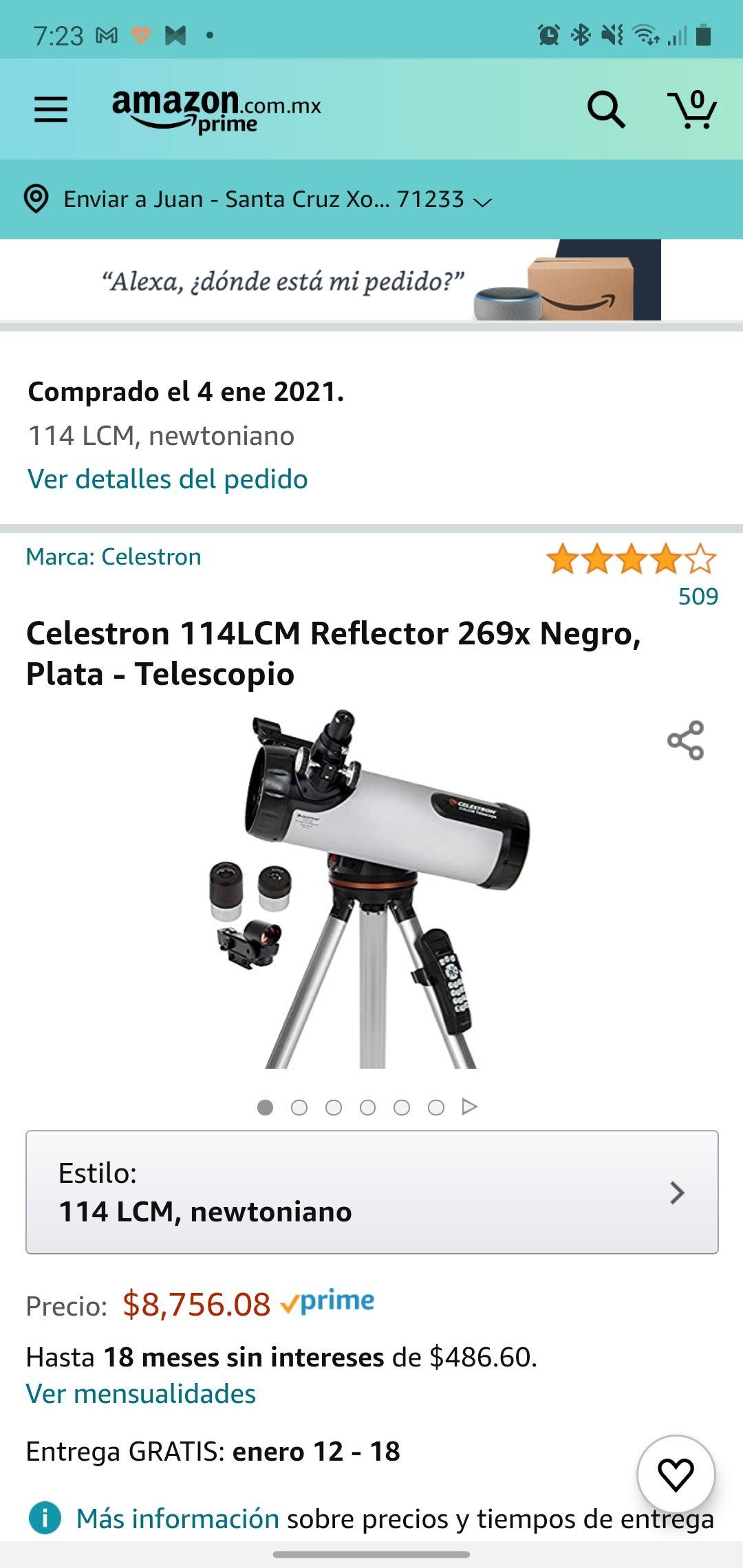 Amazon -Telescopio Celestron reflector, base computarizada.