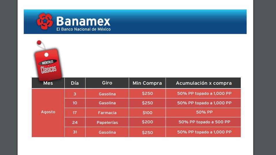 Banamex: Calendario de Miércoles Clásicos de agosto