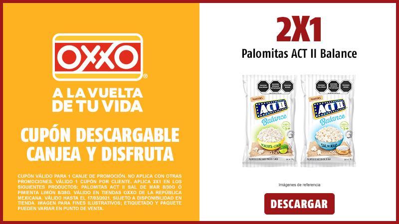 Oxxo: 2x1 en palomitas ACT II Balance