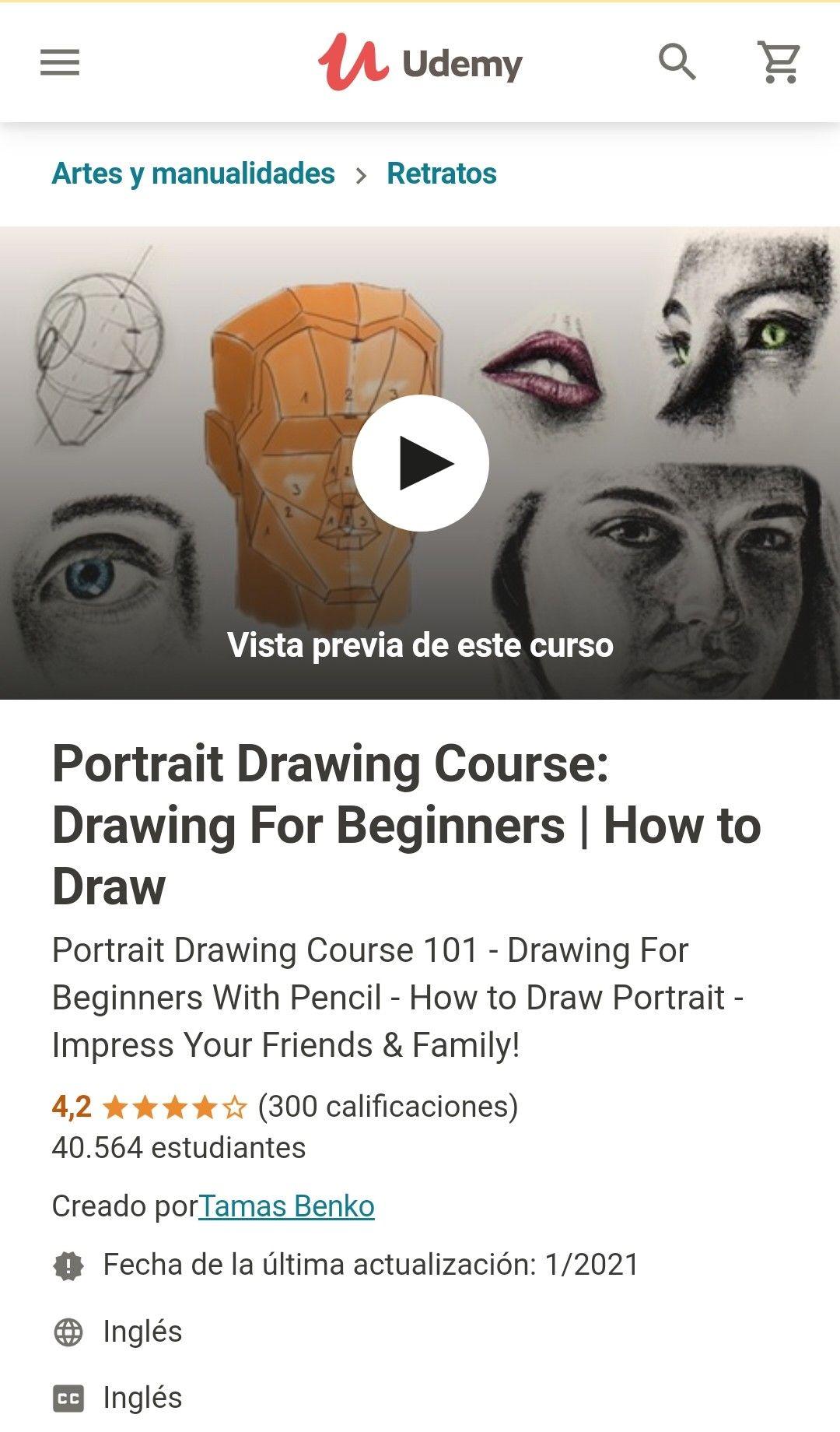 Udemy: Curso de dibujo de retrato: dibujo para principiantes | Como dibujar (Ingles)