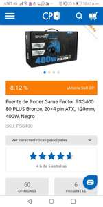 CyberPuerta , Fuente de Poder Game Factor PSG400 80 PLUS Bronze, 20+4 pin ATX, 120mm, 400W, Negro