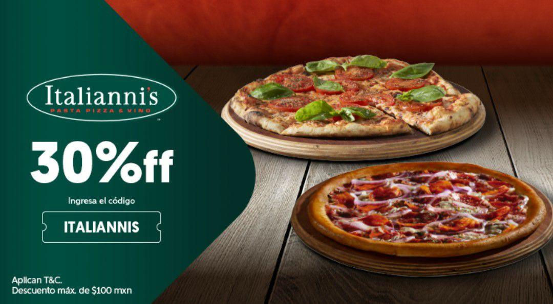 Didi food descuento en italiannis y pizzas 2x1