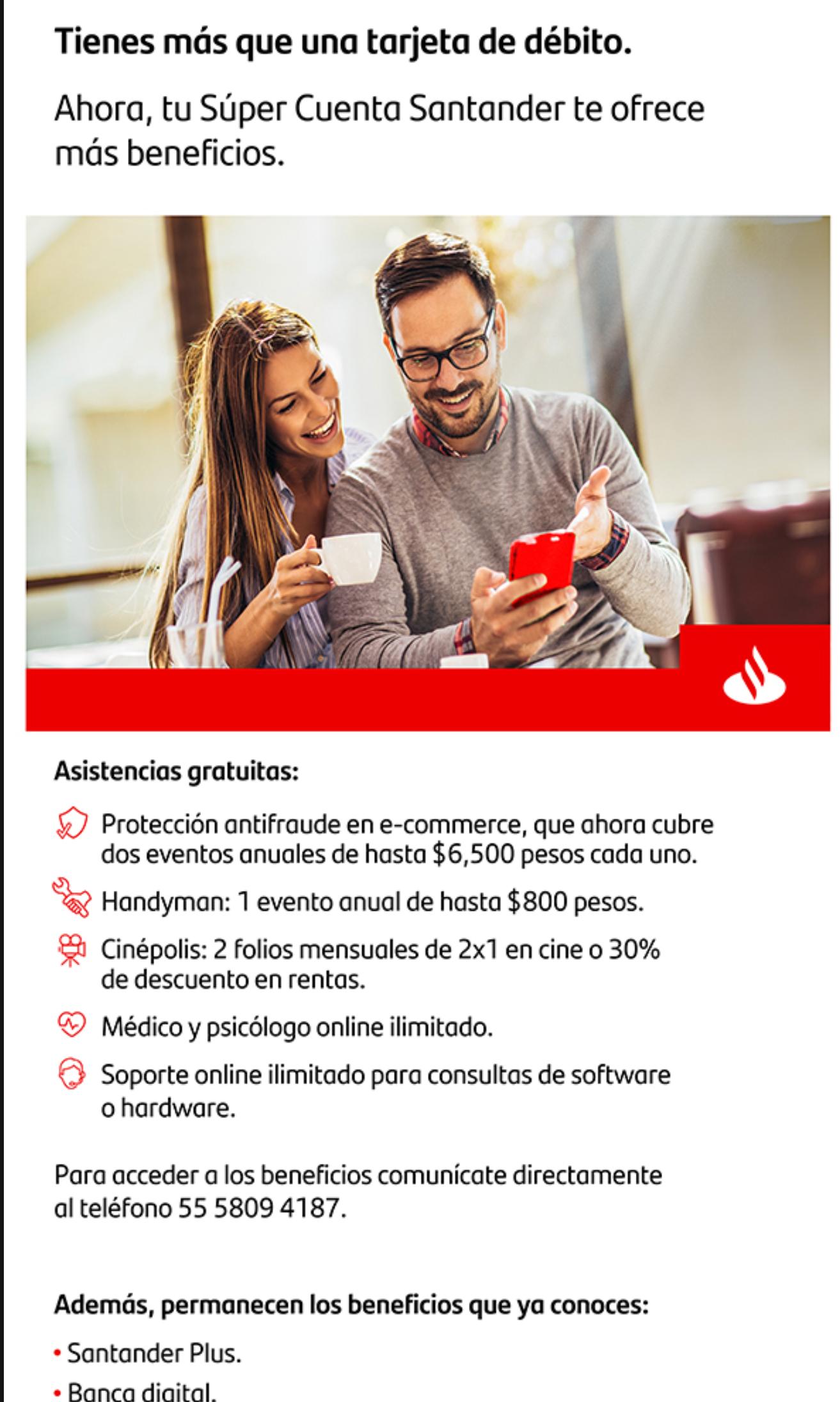 Nuevos beneficios para algunas tarjetas de débito Santander