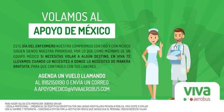 Vivaaerobus: Vuelos gratis para personal médico