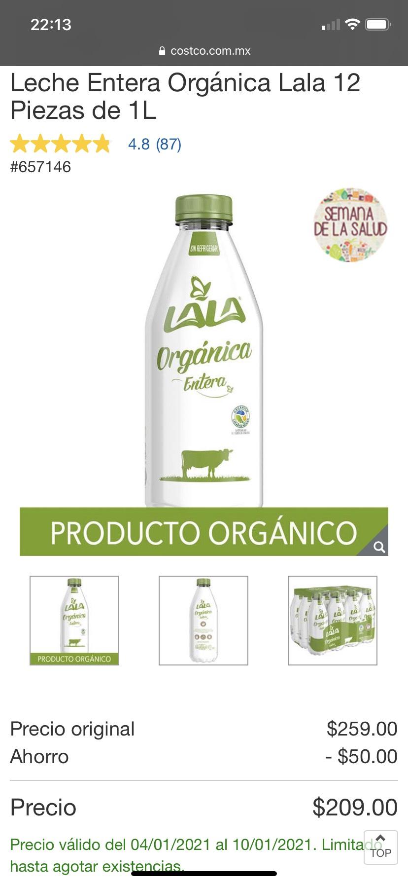Costco: 12 Pack leche Lala entera orgánica de 1 litro