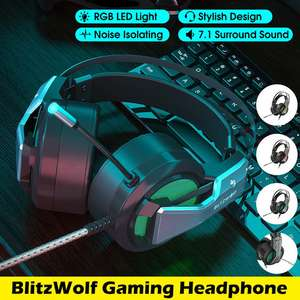 Banggood: BlitzWolf® BW-GH1 Gaming 7.1 Surround Sound RGB PC/PS4/Xbox