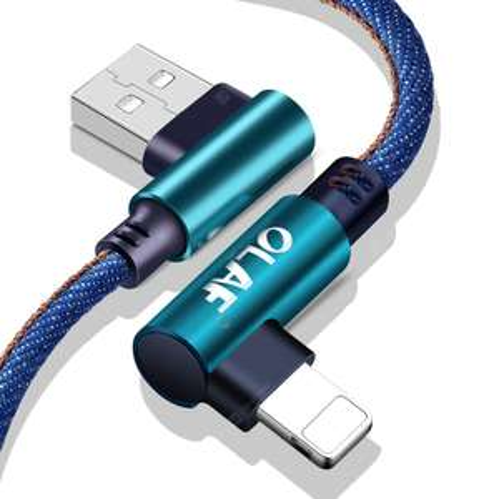 GearBest: OLAF 5V 2.4A USB Tipo C Micro IOS 90 grados de carga rápida Cable de cable USB para Samsung Xiaomi iphone - Azul 25cm para iOS