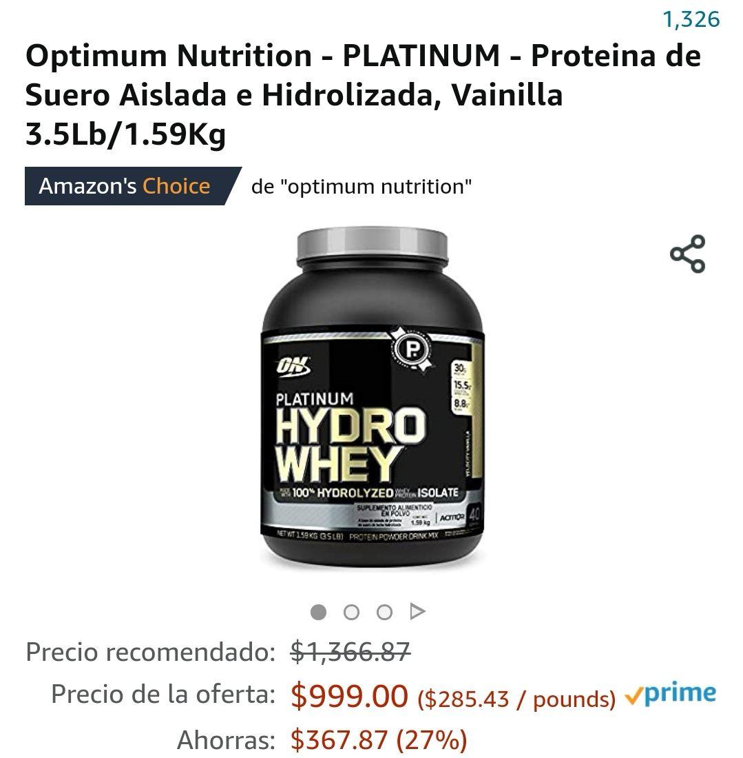 Amazon, Optimum Nutrition - PLATINUM - Proteina de Suero Aislada e Hidrolizada, Vainilla 3.5Lb/1.59Kg