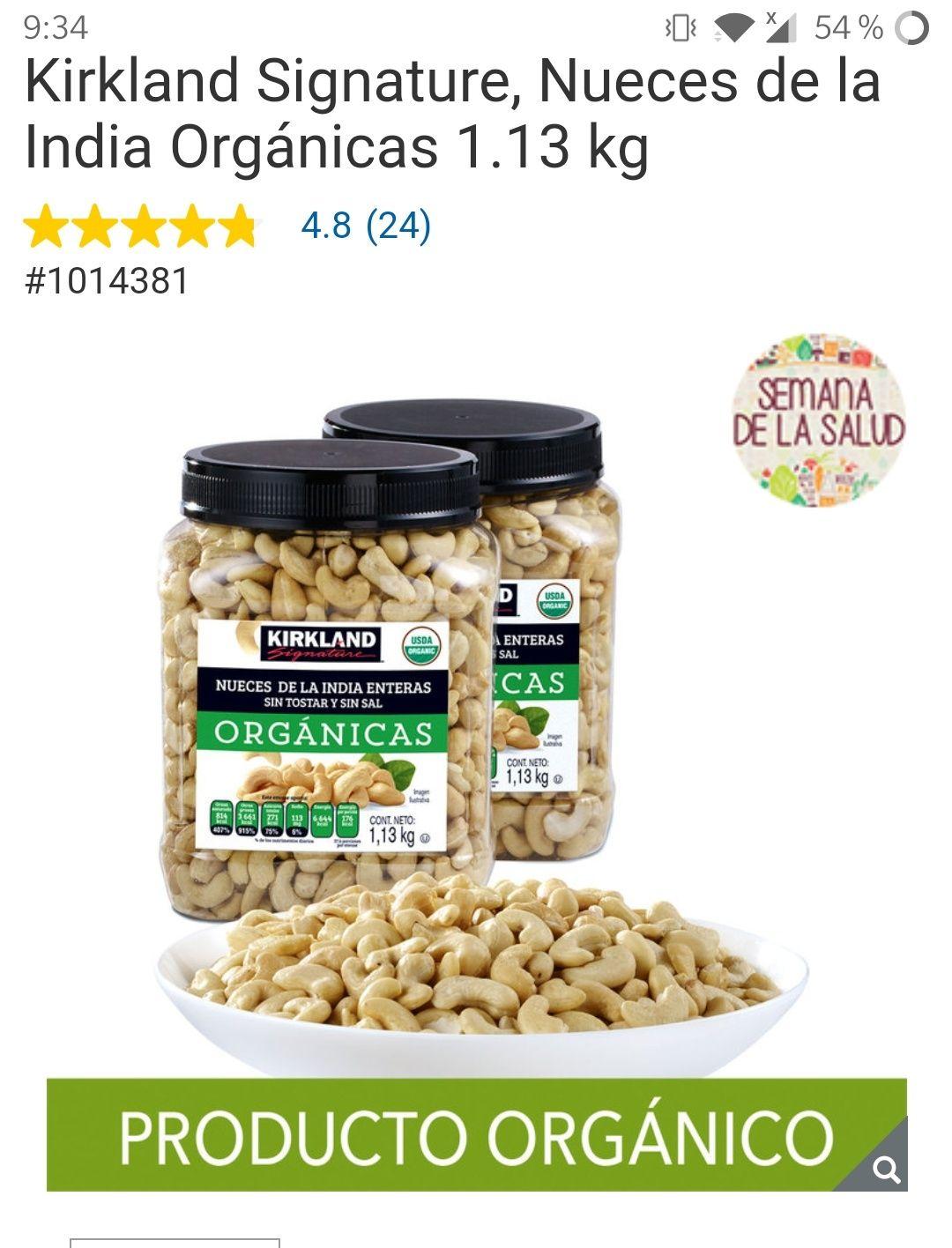 Costco: Kirkland Signature, Nueces de la India Orgánicas 1.13 kg