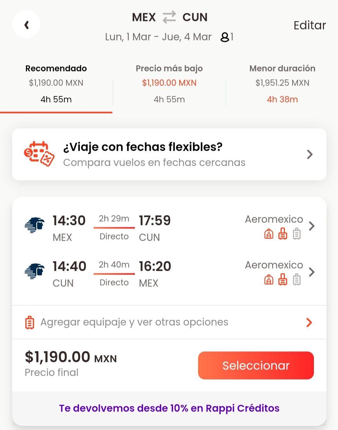 Rappi: Vuelo redondo CDMX-Cancun con Aeromexico + Cashback