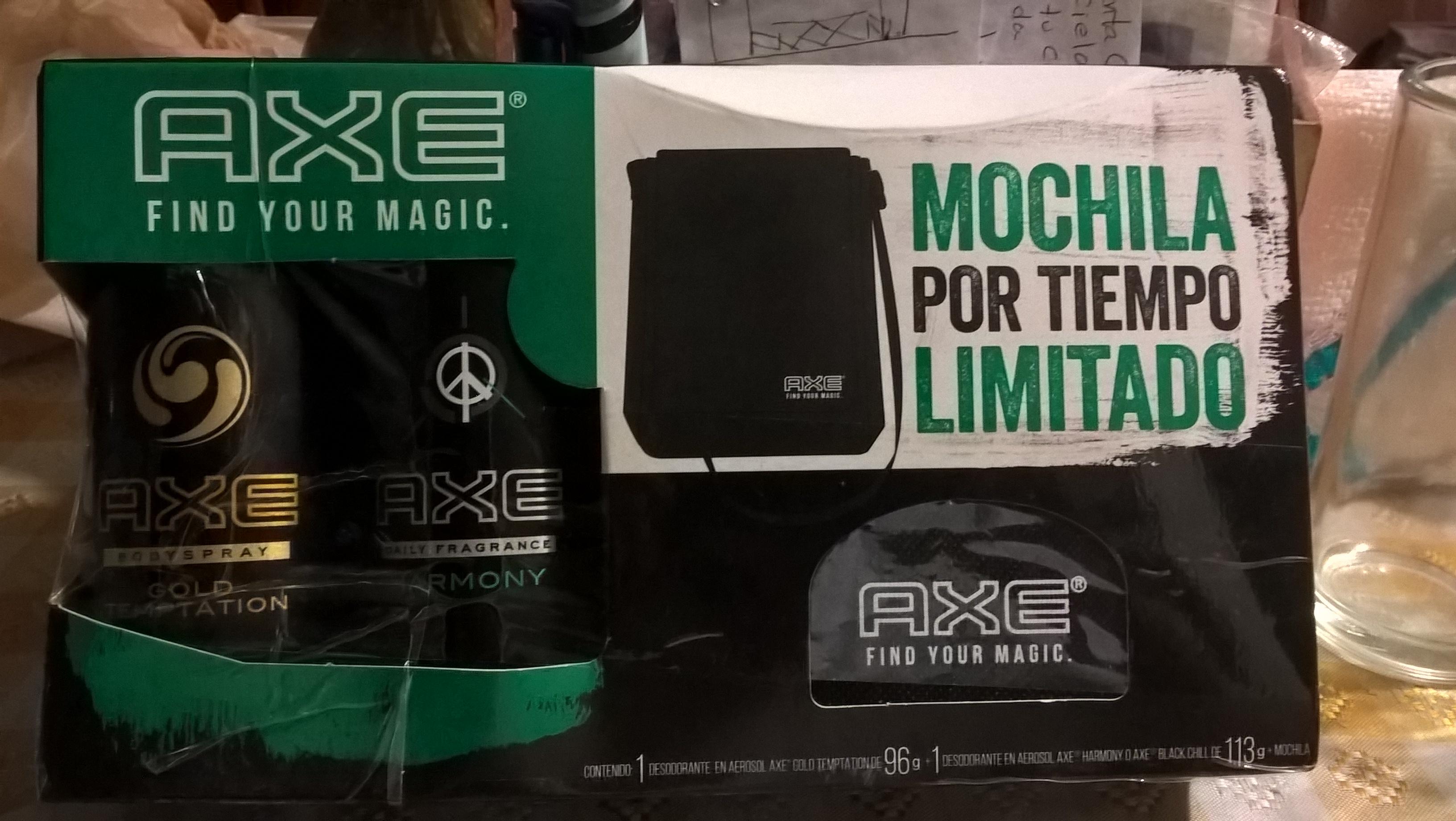 Mercado Soriana: Paquete 2 desodorantes Axe + Mochila a $85