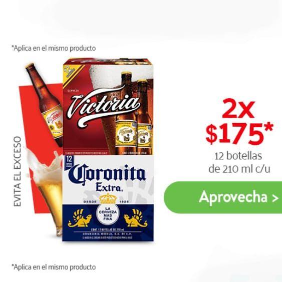 Superama: Corona o Victoria 2 Packs de 12 Botellas de 210ml (Incluye envase)
