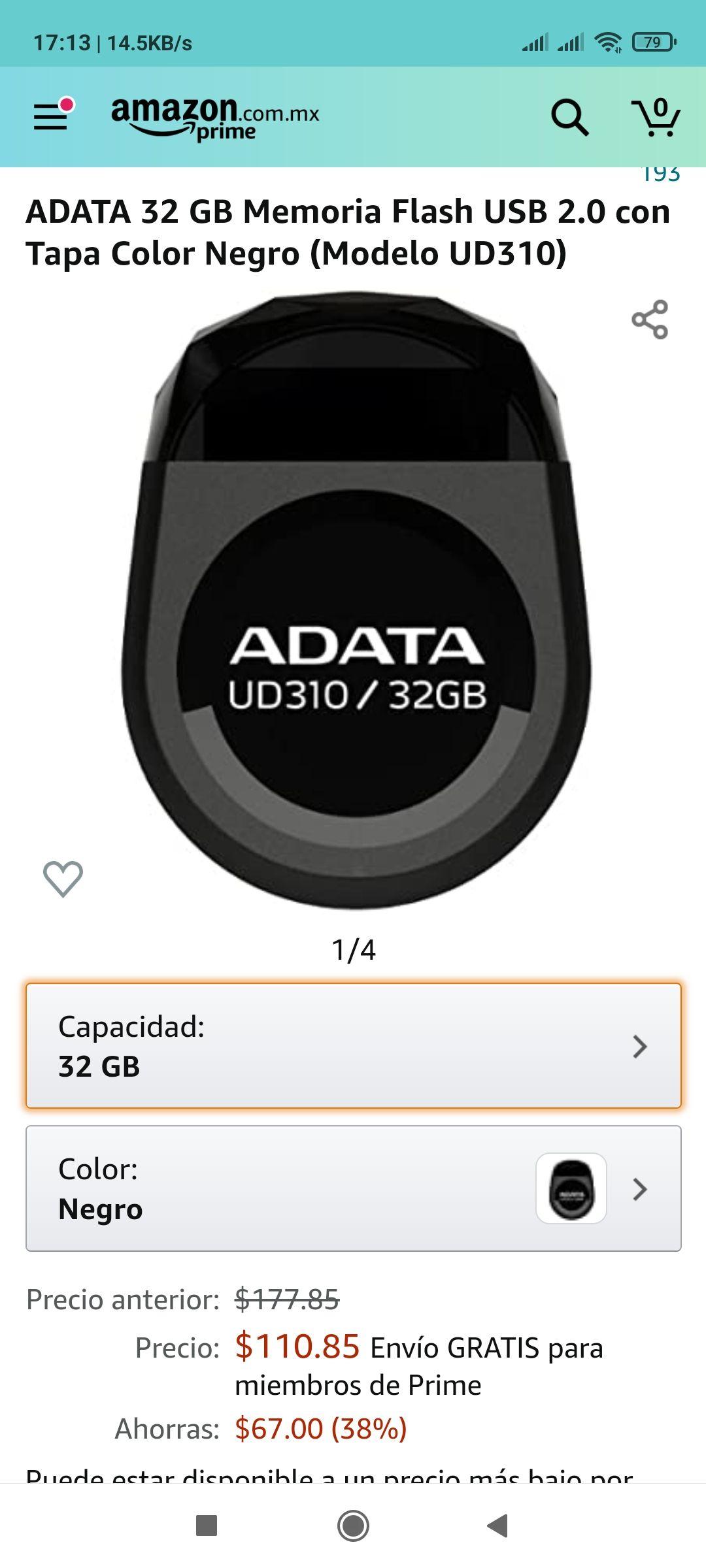 Amazon: ADATA 32 GB Memoria Flash USB 2.0 con Tapa Color Negro (Modelo UD310)