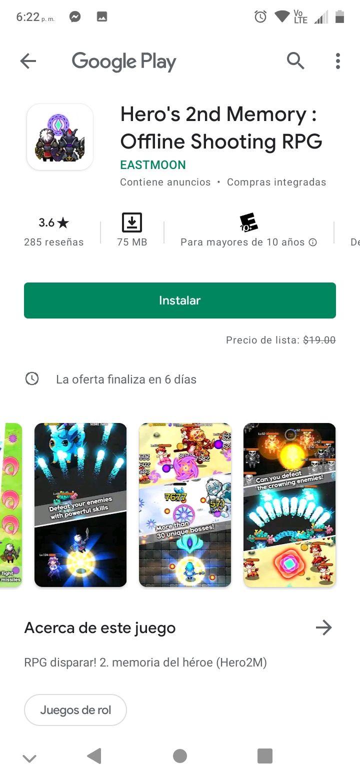 Google play: Hero's 2nd Memory: Offline Shooting RPG