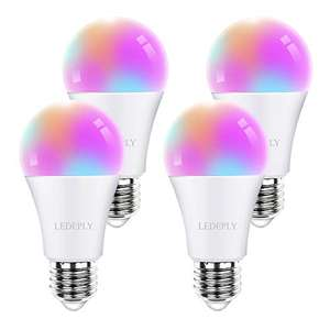 Amazon: Smart Light Bulb, Compatible with Alexa, Google Home & SmartThings, LED RGB WiFi, A19 10W=60W, White 2700K-6500K,4 Pack, LEDEPLY