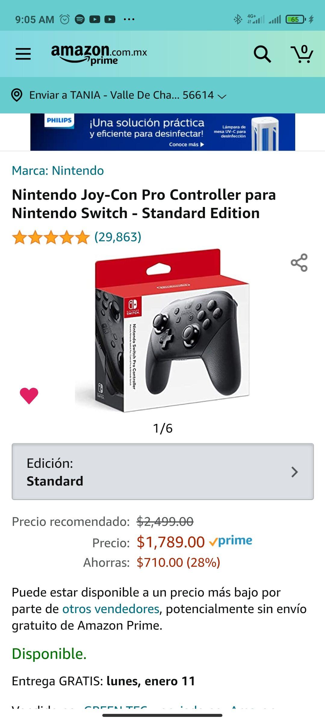 Amazon Nintendo Joy-Con Pro Controller para Nintendo Switch - Standard Edition
