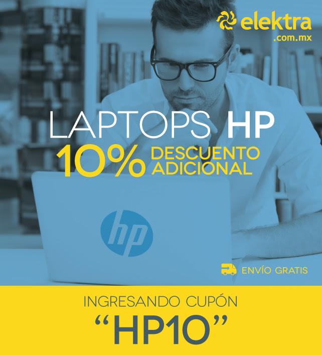 Elektra en línea: cupón de 10% de descuento en laptops HP