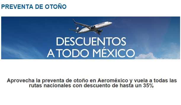 Aeroméxico: hasta 35% de descuento en rutas nacionales