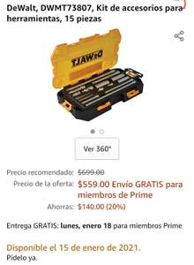 Amazon, Extensiones para matraca Dewalt DWMT73807