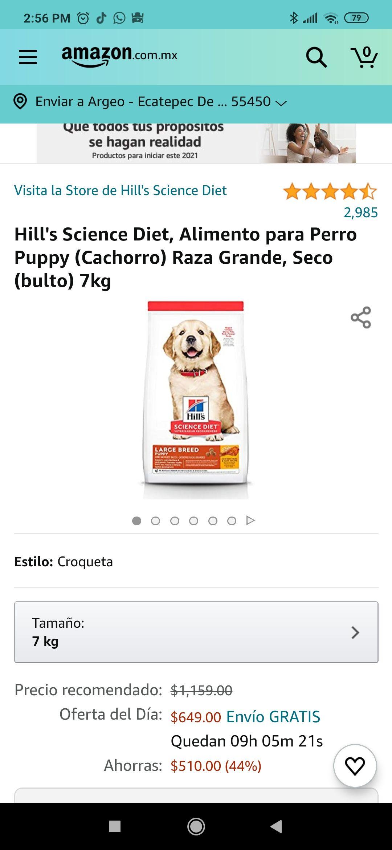 Amazon: Alimento para perro puppy raza grande cachorro 7kg