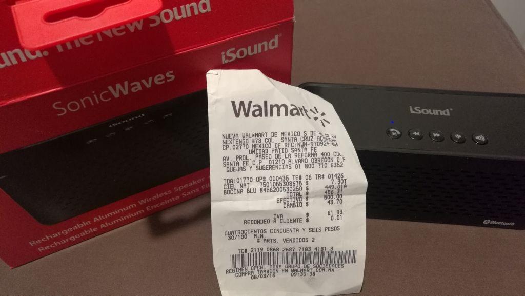 Walmart: bocina recargable Bluetooth Sonic Waves modelo i.Sound a $449.01