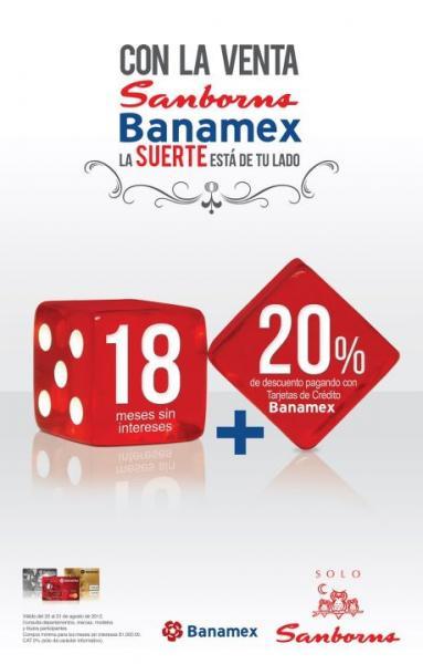 Sanborns: 20% de descuento y 18 MSI pagando con Banamex