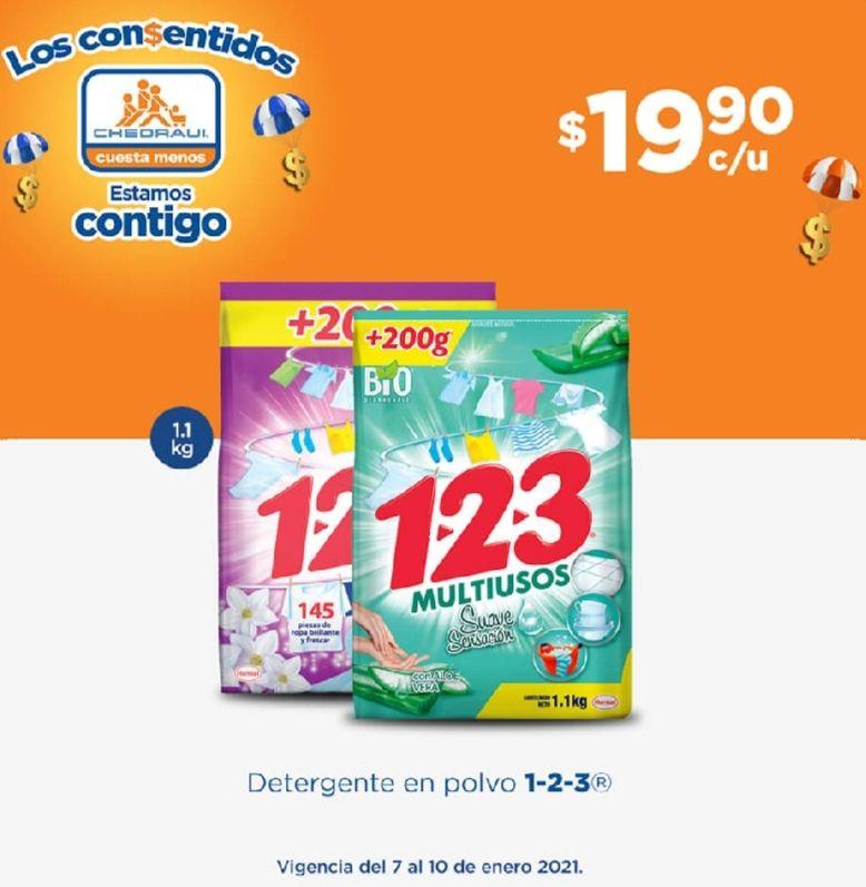 Chedraui: Detergentes en Polvo 1-2-3 1.1 kg. (900 g. + 200 g.) y líquidos 1 L $19.90
