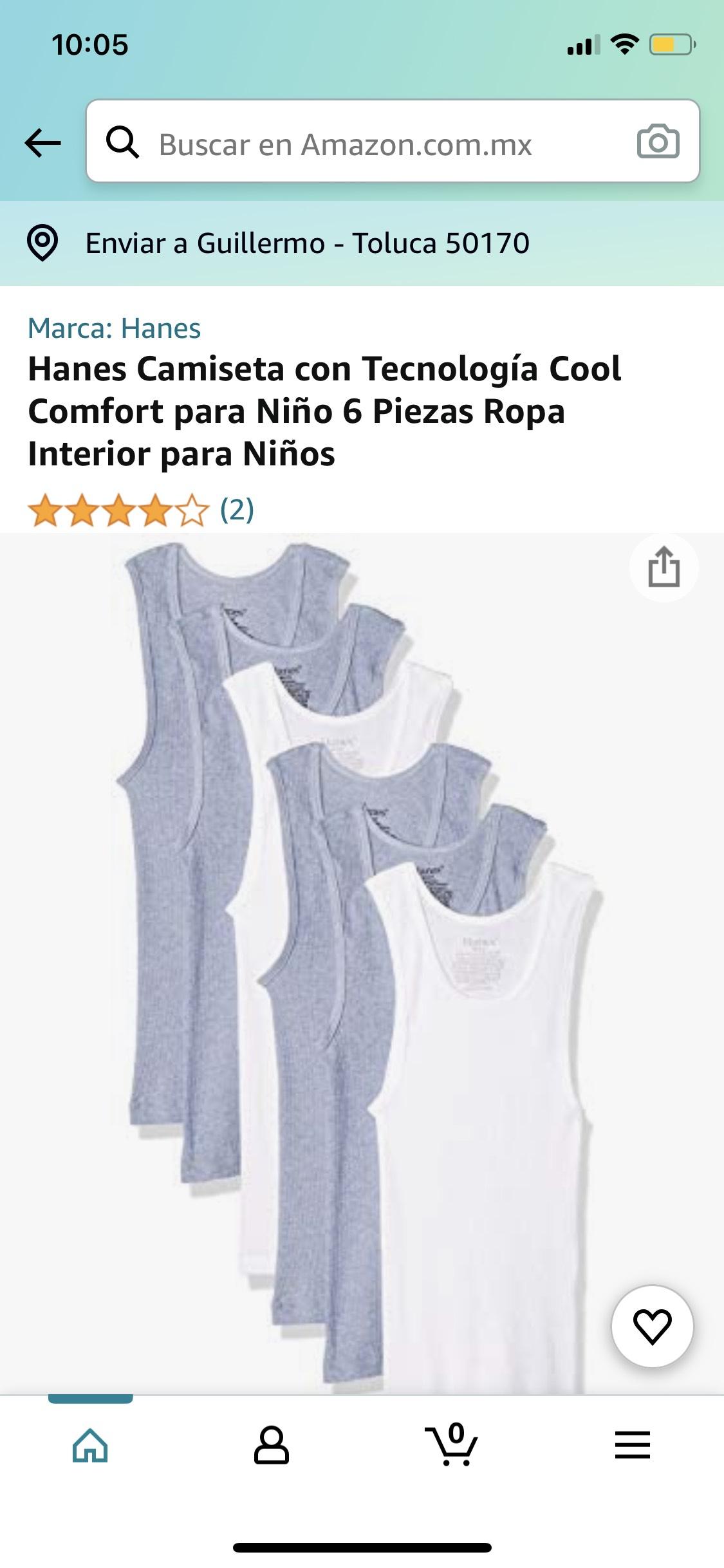 Amazon: Hanes Camiseta con Tecnología Cool Comfort para Niño 6 Piezas Ropa Interior para Niños