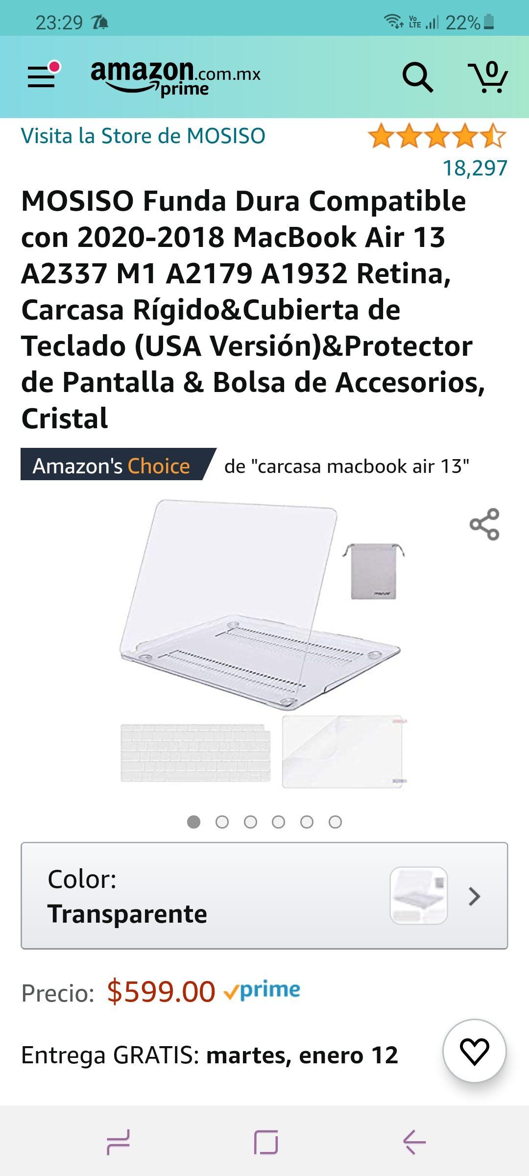Amazon: Protector para macbook air 13 pulgadas y más
