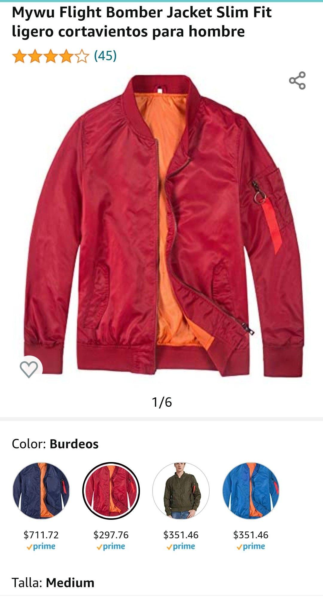 Amazon: Chamarra Bomber Slim Fit ligero cortavientos para hombre