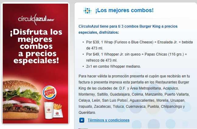 Círculo Azul de Telcel: 2x1 y precio especial en combos de Burger King