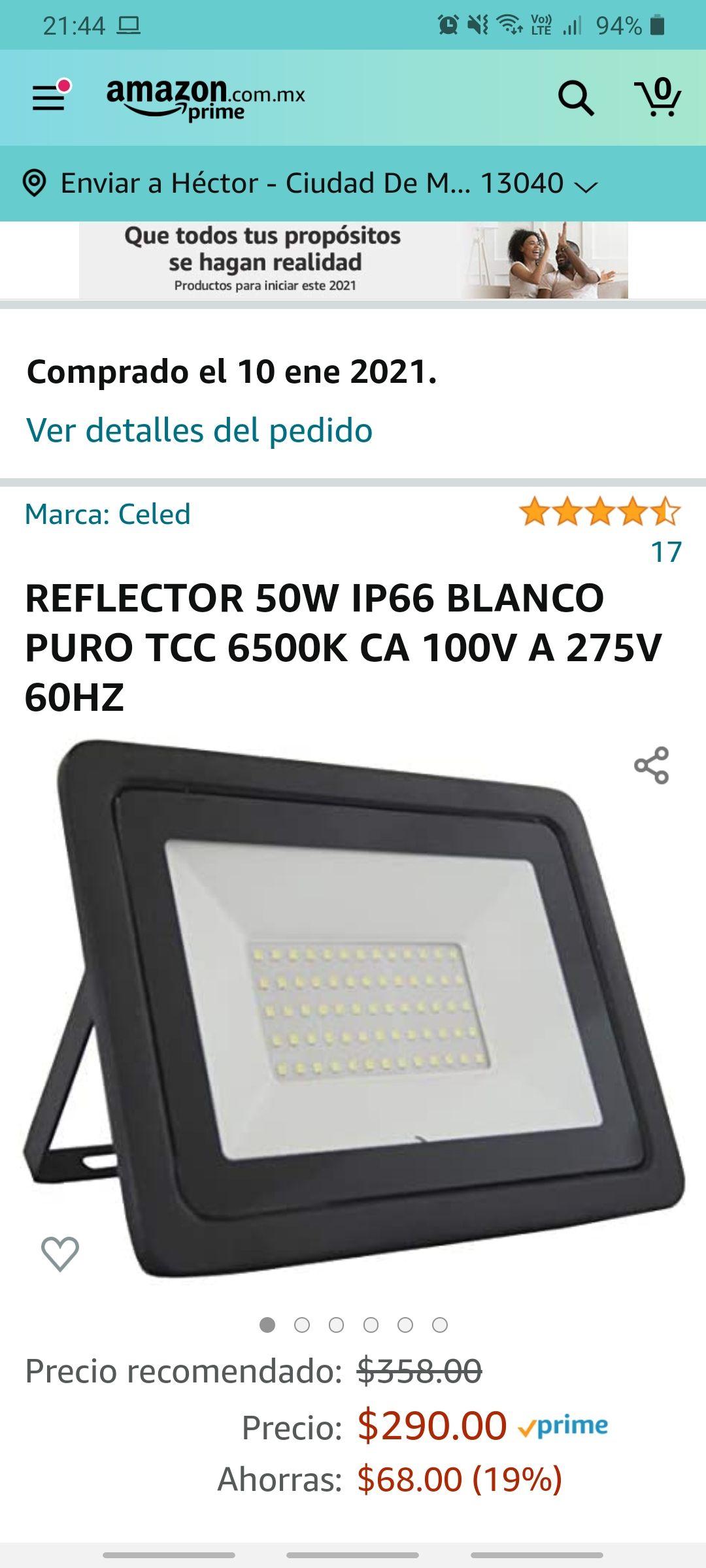 Amazon: REFLECTOR 50W IP66 BLANCO PURO TCC 6500K CA 100V A 275V 60HZ
