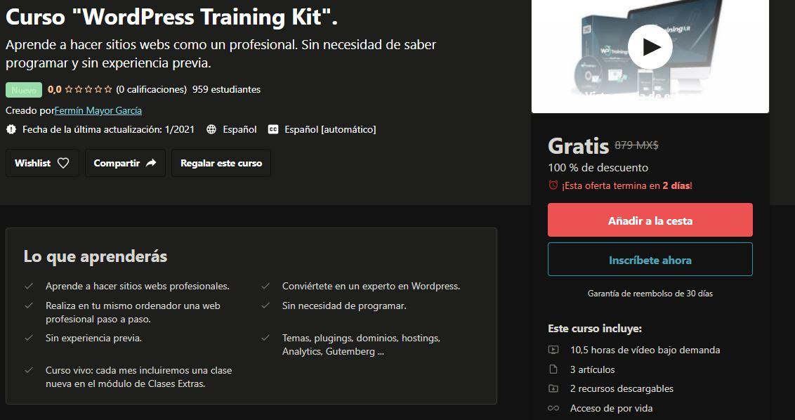 "Udemy: Curso ""WordPress Training Kit""."