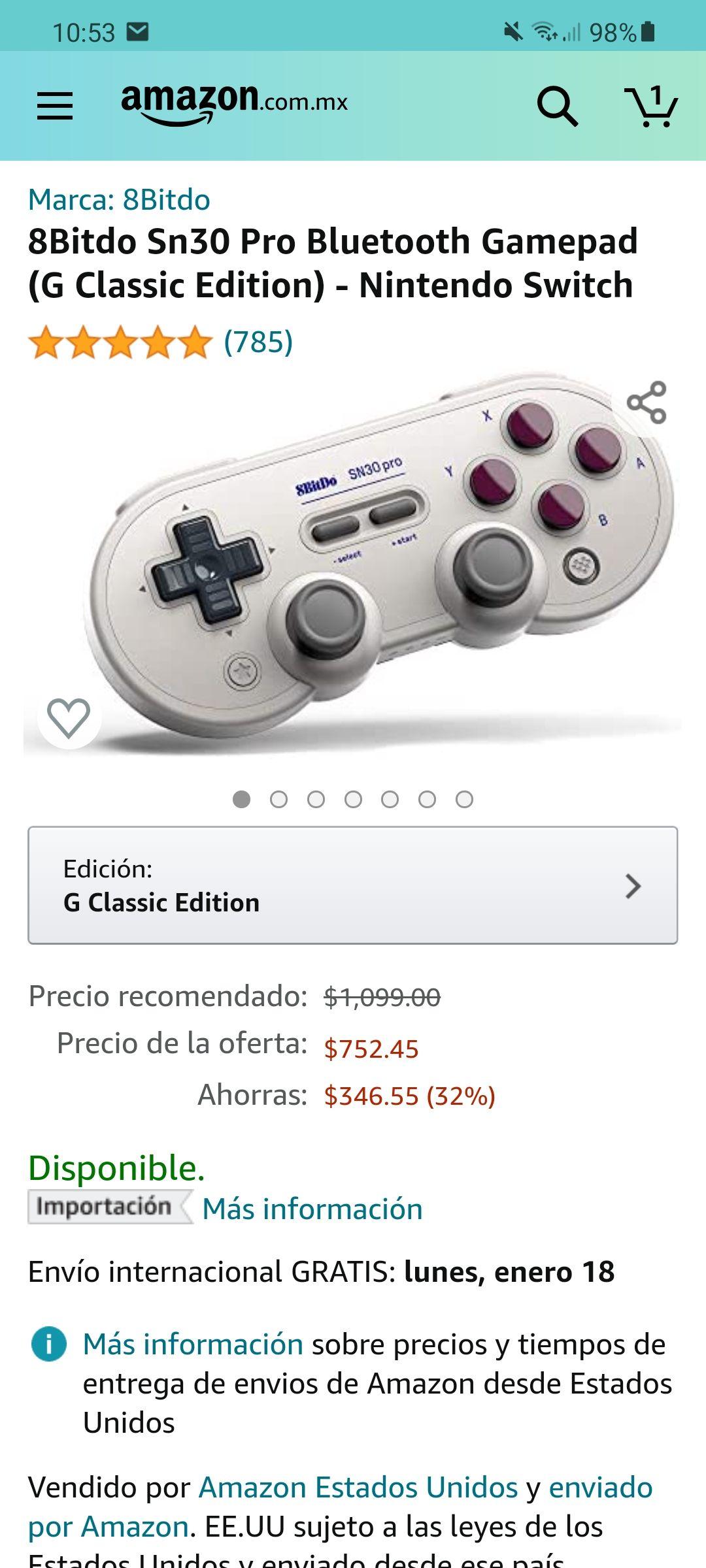 Amazon: 8Bitdo Sn30 Pro Bluetooth Gamepad (G Classic Edition)