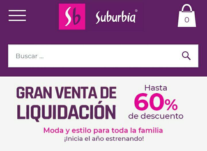 Suburbia, venta de liquidación hasta 60% de descuento.