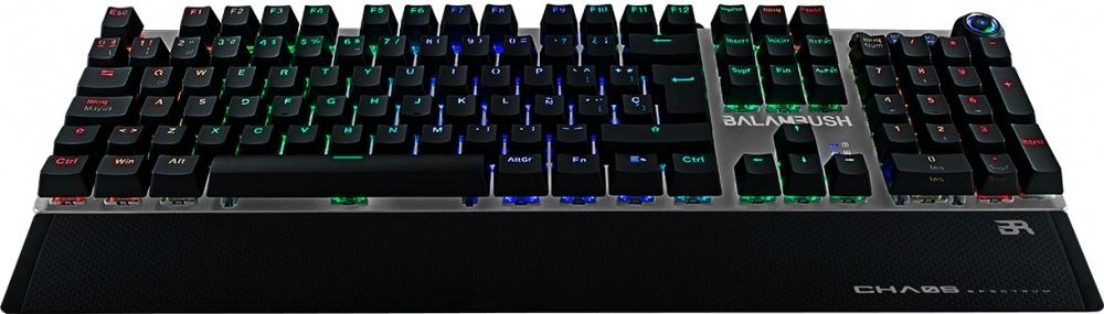 CyberPuerta: Teclado Gamer Balam Rush Chaos RGB, Teclado Mecánico, Switch Blue, Alámbrico, Negro (Español)