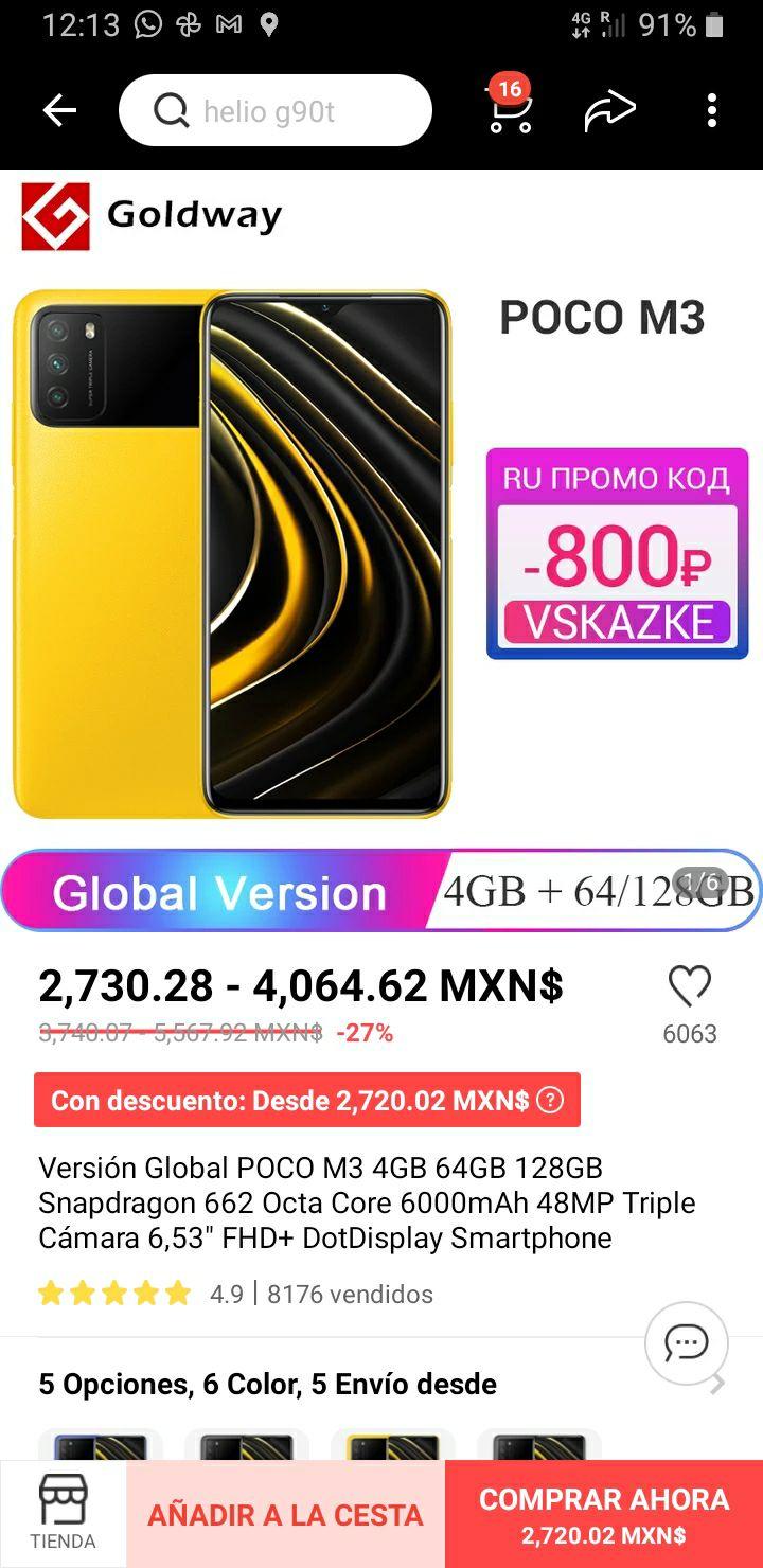 AliExpress: Versión Global POCO M3 4GB 64GB