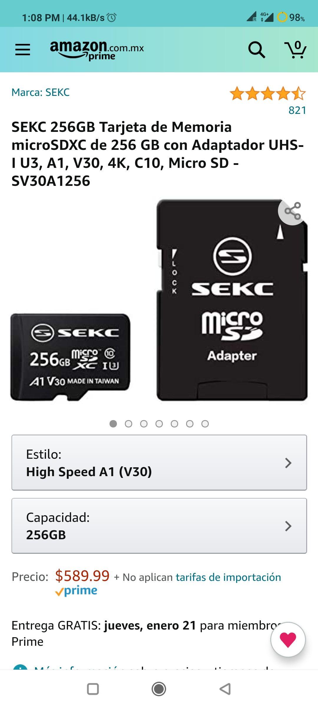 Amazon: Micro SD 256 gb