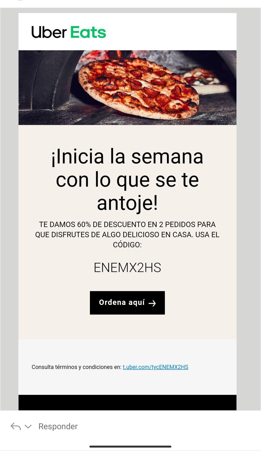 Uber Eats: 60% de Descuento en 2 pedidos