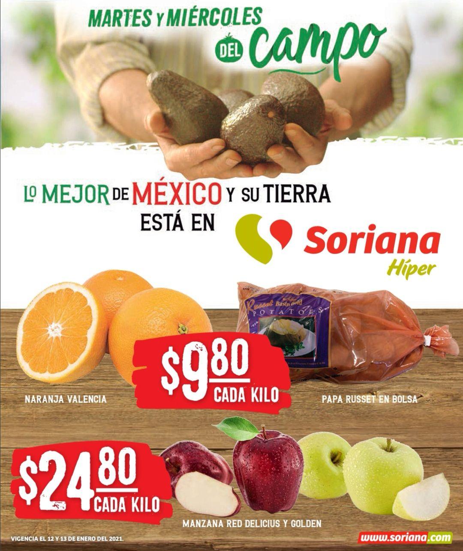 Soriana Híper y Súper: Martes y Miércoles del Campo 12 y 13 Enero: Naranja $9.80 kg... Manzana Golden ó Red a Granel $24.80 kg.