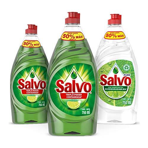 Amazon: Salvo Lavatrastes Liquido Limon 750 ml, 2 Unidades + Pure 750 ml, 1 Unidad. Total 2.3Lts.