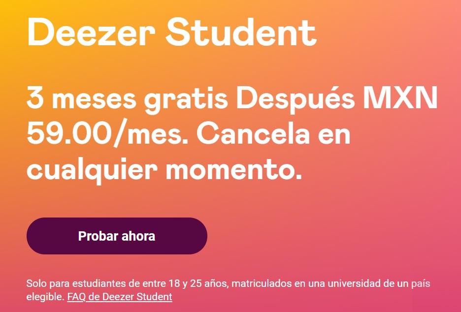 Deezer Student 3 Meses gratis México