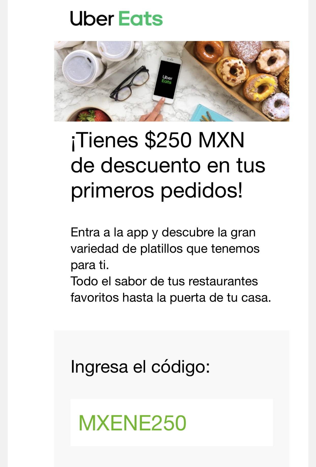 Descuento de $250 primer pedido Uber Eats