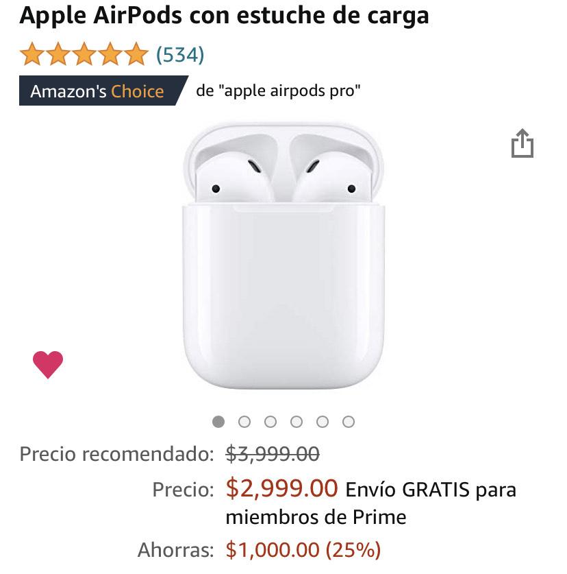 Amazon: AirPods con estuche de carga