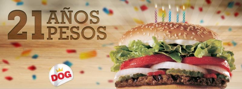 Burger King: Whopper a $21 por 21 días