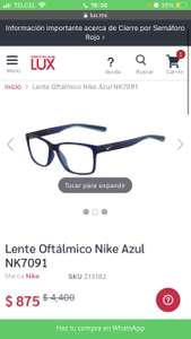 Lux: Lentes oftalmico Nike azul
