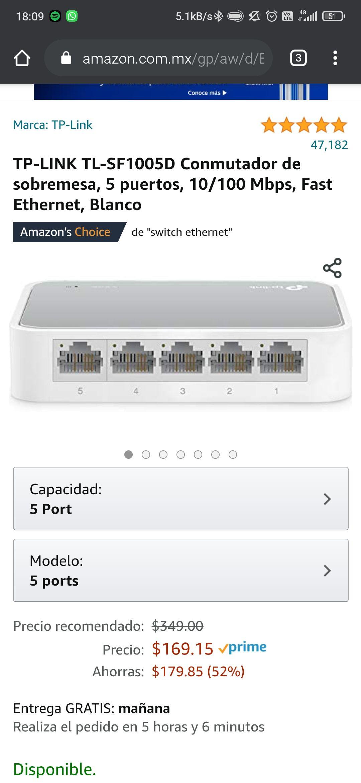 Amazon: Switch Tp-link 5 puertos