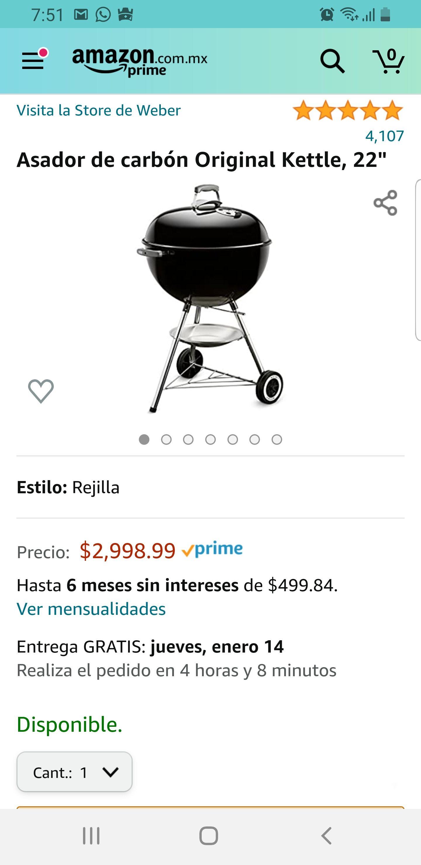 Amazon: Weber Kettle 22' a precio inferior al normal